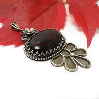 Silver pendant with brown amber, metalwork, vintage style, flower