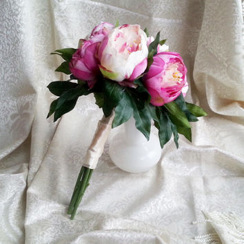Silk and satin flowers peonies wedding BOUQUET pink Flowers, satin Handle, Flower-girl, Bridesmaids, green fuchsia custom small