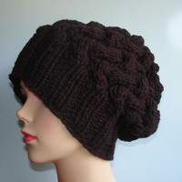 knit hat slouchy women / men Knit Cable beanies style hat  Slouch Beanie Hat Large knit hat - knit hat beanie - chunky knit hat - winter hat