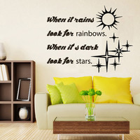 Wall Decals Quote When It Rains Look For Rainbows Sun Stars Vinyl Decal Sticker Words Living Room Interior Design Home Art Mural Decor KG534