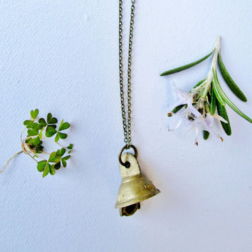 Miss bell   Antique brass bell charm necklace   Minimalist layering necklace