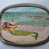 Mermaid Belt Buckle Victorian Vintage by wwwvintagemermaidcom