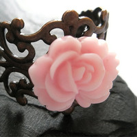Baby Pink Rose filigree Copper Flower adjustable ring Hand Made by Futti Tutti Bead candy