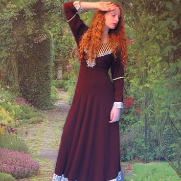 Vintage heavily embellished Indian Princess gown / jewelled beaded maxi dress in rich brown with huge diamanté details / ethnic boho Bride
