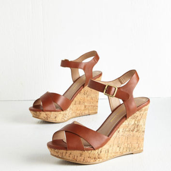ModCloth Par for the Corks Wedge in Cognac