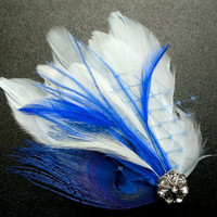 SARAH Royal Blue Peacock Feather Hair Clip, Feather Fascinator