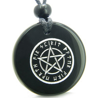 Amulet Magical Pentacle Runic Star Powerful Defense Energies Black Agate Pendant Necklace