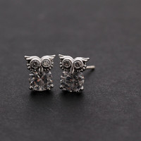 OWL with crystals stud earrings, 2 colors | girlsluv.it - handmade jewelry collection, ETSY, Artfire, Zibbet, Earrings, Necklace