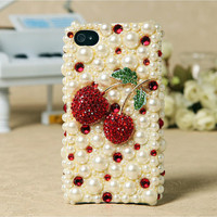 Apple iPhone 4S 4G Pearl Red Cherry Crystals Back Protective Skin Case Cover Birthday Gift for Her Free Shipping Worldwide