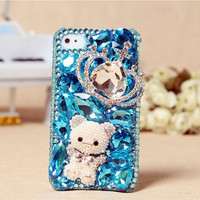 Apple iPhone 4S 4G Cute Stylish Fashion Bear Crown Blue Crystals Back Case Skin Cover FREE SHIPPING