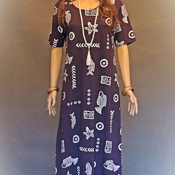Vintage tribal maxi dress / french navy funky novelty fish pattern in quality cotton jersey / tropical holiday