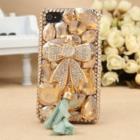 FREE SHIPPING Apple iPhone 4S 4G Artificial Rhinestone Swarovski Crystals D Letter Bow Girly Hard Skin Case Cover