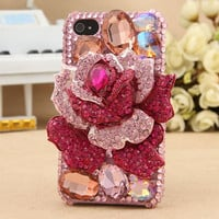 FREE SHIPPING iPhone 3G 3GS Artificial Rhinestone Swarovski Crystals Hot Pink Rose Flower Girly Hard Case Cover