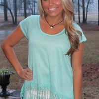Bangles Boutique — MINT TOP WITH LACE HEMLINE