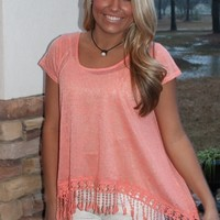 Bangles Boutique — DEEP PEACH TOP WITH LACE HEMLINE