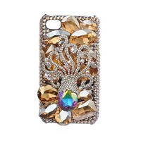 Apple iPhone 4S-4G Cute Multicolor Octopus Sea Crystals Fashion Girly Handmade Back Case Shipping Worldwide