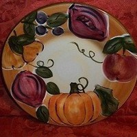 Set of Four 8-Inch Ceramic Harvest Design Hand Painted Collection Plates