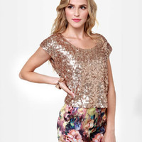 Cool Gold Top - Sequin Top - Crop Top - $37.00