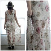 Reconstructed 90s Vintage Lace Maxi Dress S/M
