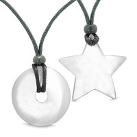 Large Coin Donut Super Star Amulet Love Couple or Best Friends White Cats Eye Pendant Necklaces