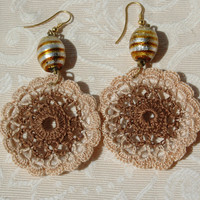 Crochet earring -Large crochet earring -Crochet earring jewelry- Brown earring