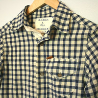 Handmade Men's Elbow Patch Button-Up Shirt in Blue and Cream Gingham SMALL