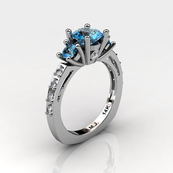 French 14K White Gold Three Stone 1.0 Carat Blue Topaz Diamond Engagement Ring AR112-14KWGDBT