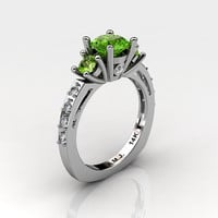 French 14K White Gold Three Stone 1.0 Carat Peridot Diamond Engagement Ring AR112-14KWGDP