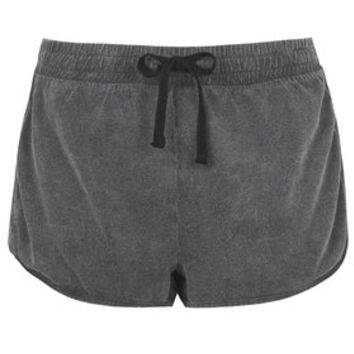 Washed Side Step Runner Shorts - Charcoal