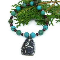 Bird Pendant Necklace Turquoise Garnet Pewter Handmade Beaded Jewelry