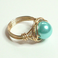 FREE SHIPPING Ice Blue and Gold Wire Wrapped Ring