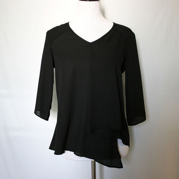 Black v-neck silky blouse with 3/4 sleeves from Shop Lily&Ofelia