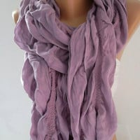 ON SALE  Cotton Scarf  Elegant Scarf  Soft and light .....Lilac Scarf