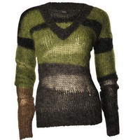 Joseph Panelled Mohair Blend Sweater Khaki - LoLoBu