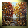 Original XL Art Painting Palette Knife Autumn Trees Landscape Blue Brown Gold Red Fall Trees Impasto 36x36&quot; -Christine