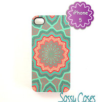 iPhone 5 Case Mint and Coral Quilted Pattern Ships from USA