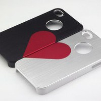 2X 3D Loving Heart Lovers Metallic Hard Case Cover for iPhone 4 4S