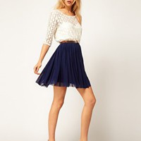 ASOS Skater Dress With Spot Lace & Mesh Skirt at asos.com