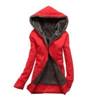 Hooded Zipper Over Coat Fleece Zip Outerwear