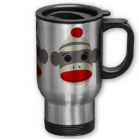 Sock Monkey Face Travel Mug from Zazzle.com