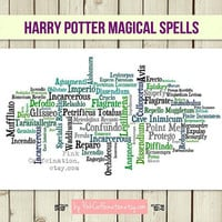 Magical Harry Potter Spells Print / Typography Print