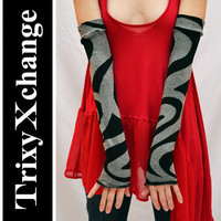 TRIXY XCHANGE - Grey Arm Warmers Striped Gloves Long Leg Warmers Covers Burning Man Outfit