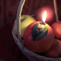 Candle Ball - Red Apple  - Sweet Apple Scented Candle - Hand Made Hand Painted