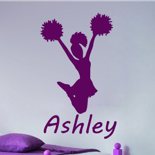 Personalized cheerleader vinyl decal wall from kisvinyl on for Cheerleader wall mural
