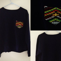 BLUE CREWNECK with tribal pocket
