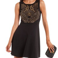 Mesh Back Studded Skater Dress: Charlotte Russe