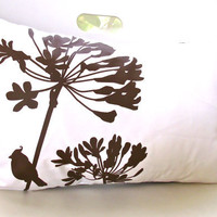 Brown Print on Off White Cotton Cardinal on Agapanthus Rectangle Pillow