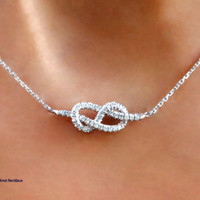 Infinity Knot Diamond Necklace 14K  Gold