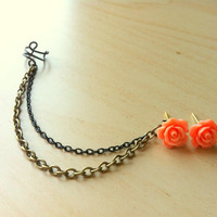 Coral color resin mini rose bud ear stud with bronze and black ear cuff chain earring 10mm