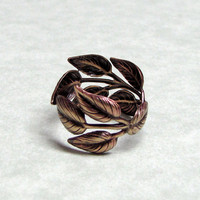 Leaf Spray Ring band by ranaway on Etsy